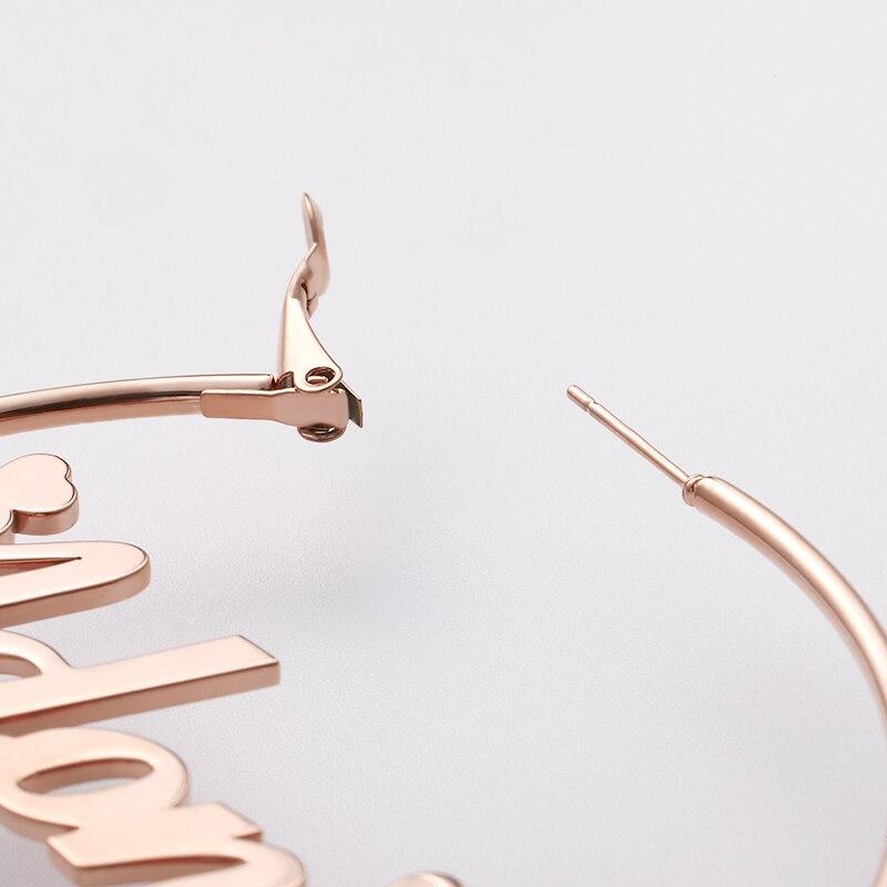 Large Name Stud Earrings Custom Round Earrings hoop earrings серьги Personalized Stainless Steel Circle Earings boucle d 39 oreille in Hoop Earrings from Jewelry amp Accessories