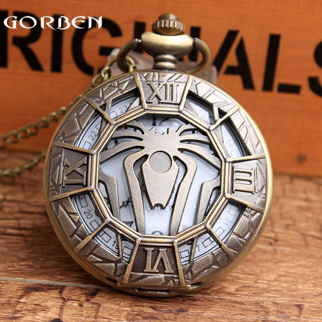 New Unique Hollow Spider Design Bronze Pocket Watch with FOB Chain Super Hero Spider-Man Fans Quartz Pocket Watch For Mens Gifts