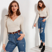 Long Sleeve Sweaters Women 2018 Autumn Fashion Sexy Knitted Sweaters Women Wrap Tops V Neck Slim Off Shoulder Sweater Pullovers