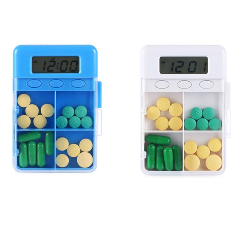 4 Grid Intelligent Time Reminder Pill Box Portable Organizer Storage Case @LS