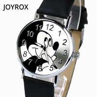 JOYROX Women Watches Leather Strap Quartz Women Watch Cartoon Pattern Women Clock Relogio Feminino zegarek damski