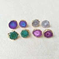 1 paire or couleur arc-en-ciel fleur solaire Quartz Druzy boucles d'oreilles cristal naturel druse pierre bijoux Drusy Geode pour femmes E20