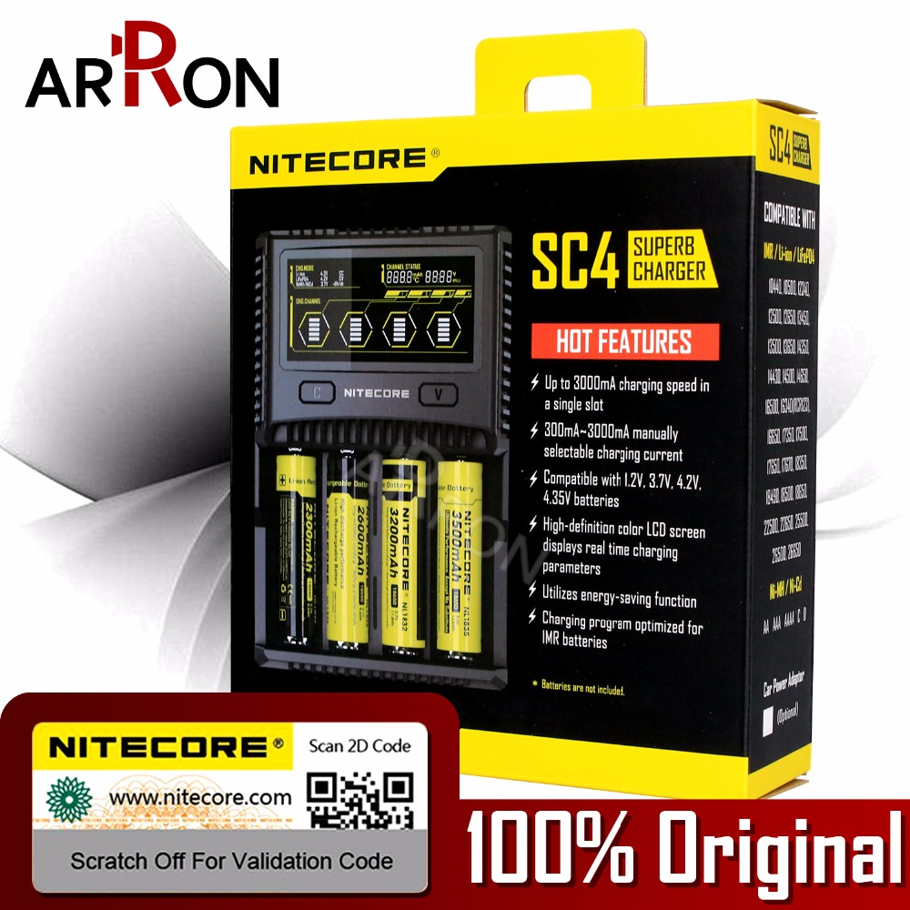 Heißer NITECORE SC2 SC4 Für Li-Ion IMR LiFePO4 Ni-Mh (NiCd) 18650 17650 17670 16340 14500 batterien Max 3A Auto Batterie Ladegerät