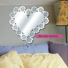 Розы и большое акриловое сердце декоративный зеркальный стикер, настенные зеркальные наклейки украшения