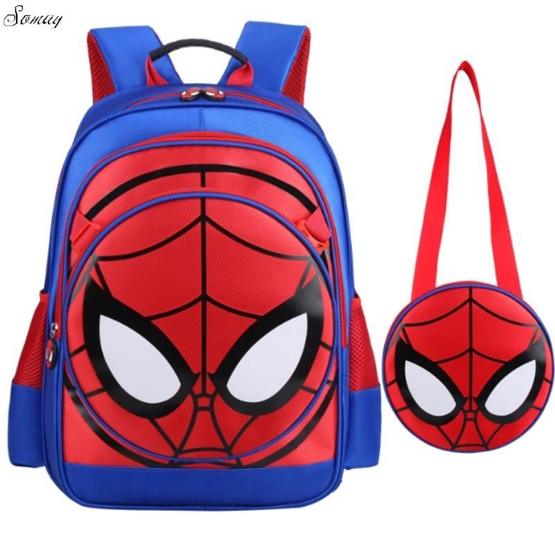 3D Spiderman Primary School Kids Backpack Children Spider Man Cartoon Kindergarten Student Boys Backpacks Daypack Mochila new cartoon children backpacks blue color captain america backpack for kids children spiderman schoolbag