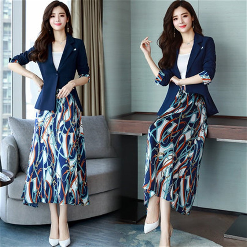 Fashion printing professional suit women's spring and autumn new Korean version of the self cultivation suit skirt two piece AL1