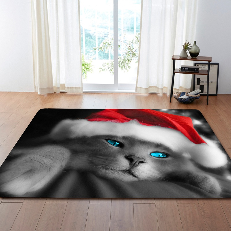 3D Cute Animal Cat Cartoon Printing Modern Carpets For Living Room Children's Rug Bedroom Floor Carpets Large Burrito Blanket