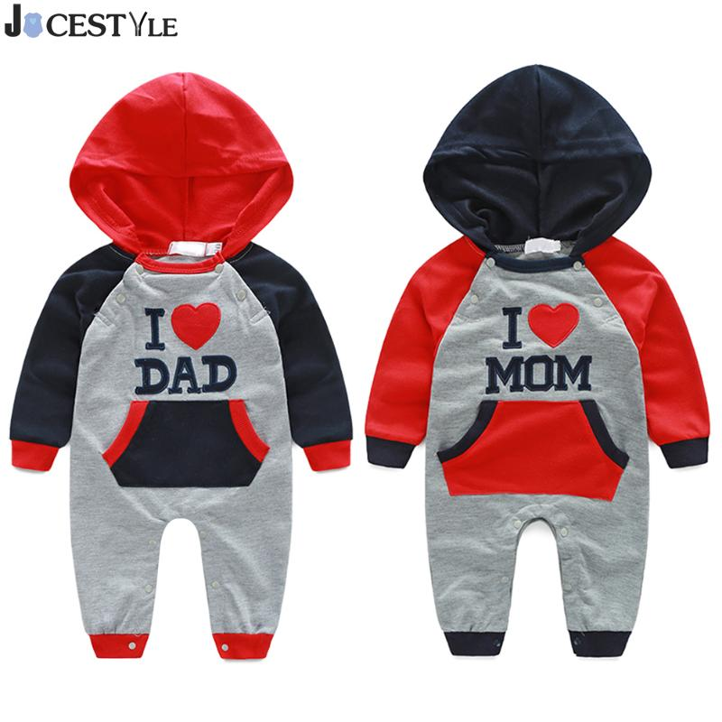 купить New Born Baby Clothes Romper Spring Autumn Cotton Hooded Printing I LOVE MOM&DAD Infant Jumpsuits For Baby Clothing недорого