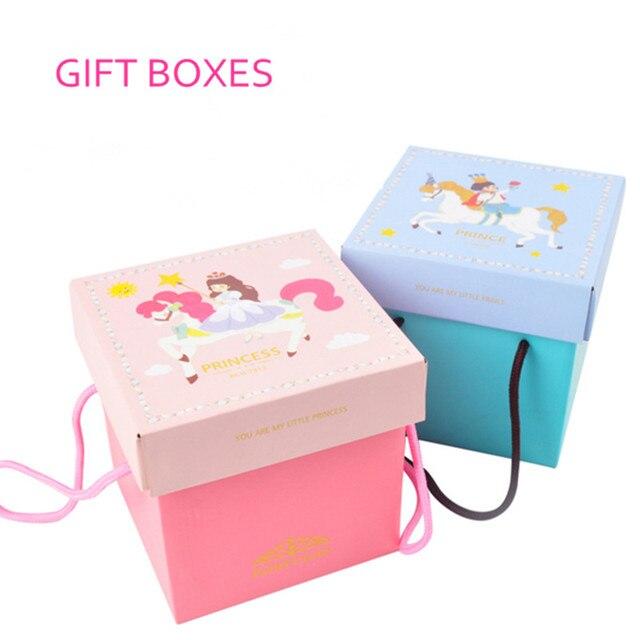 Wonderful Square Baby full moon birthday gift box Wedding Favor boxes snack  VH56