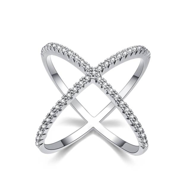 Newest Design Infinite Ring with  Micro Paved CZ Fashion Women  X shape Cross Ring Sieraden Vrouw Wedding Gifts Unique Rings