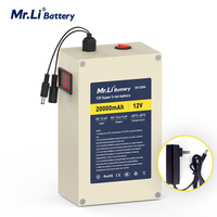 Mr.Li 12V 20Ah Best Rated Rechargeable Batteries 18650 Lithium Ion Battery Pack AC 2A Power Charger With 4 kinds of Plugs