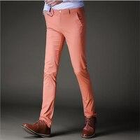 Arancione Nero Uomini Pantaloni Slim Fit Fashoion Skinny Vestito Convenzionale Pant Partito Ufficio Tailleur Pantalone Stretch Maschio Joggers
