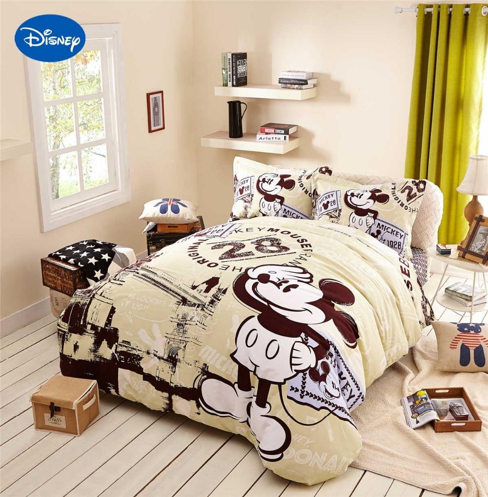 Mickey Mouse Comforter Sets Woven Bedding Textile Girls Bedroom Decor Twin Queen Cartoon Disney