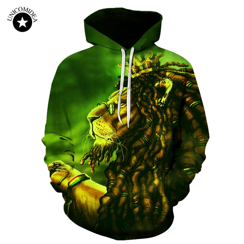 2018 Fashion Brand 3D Hoodies For Men Lion Hip Hop Hooded Sweatshirts Printed Hooded Tracksuits Casual Tops Unisex