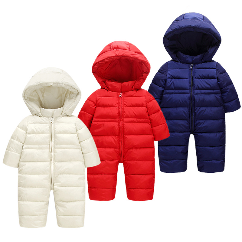 826066c19 2018 NEW Baby Rompers Winter Thick Warm Baby girl boy Clothing Solid ...
