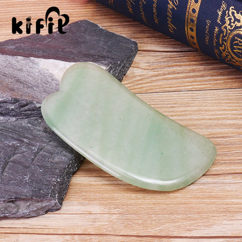 KIFIT Natural Gua Sha Board Green Jade Stone Guasha Cure Acupuncture Massage Tool Body Face Relaxation Beauty Health Care Tool kifit convenient handheld ice cooling roller facial skin care beauty face body massage home used health tool