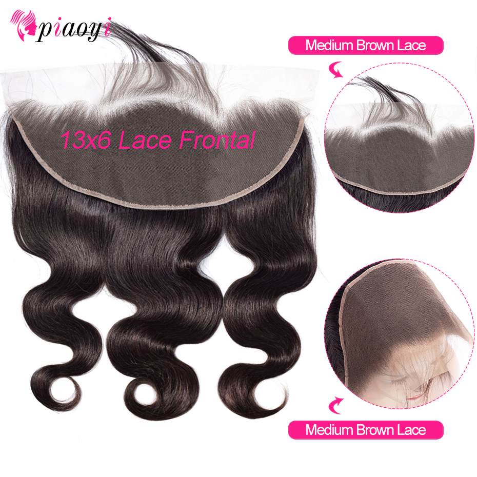 Piaoyi Ear to Ear Lace Frontal Closure 13X6 Free Part With Baby Hair Brazilian Body Wave Human Hair Remy Hair(China)