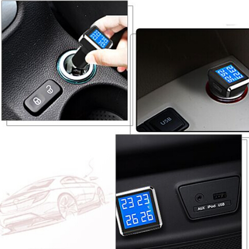 Careud TPMS car tire pressure monitoring system with 4 external sensors PSI/BAR measurement High quality TPMS for your safety hotaudio tpms app car tire pressure monitoring system car tire diagnostic tool support bar and psi