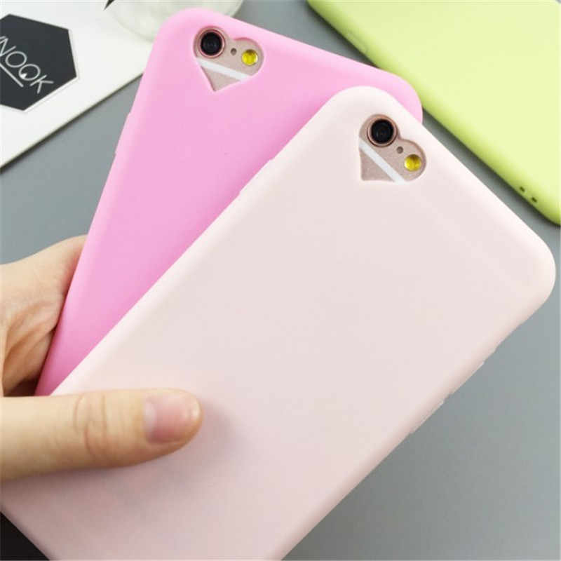 Silicone Case for iPhone 6 S 6S 7 8 Plus 5 5S SE 6Plus 6SPlus Simple Solid Color Ultrathin Soft TPU Case Candy Color Back Cover
