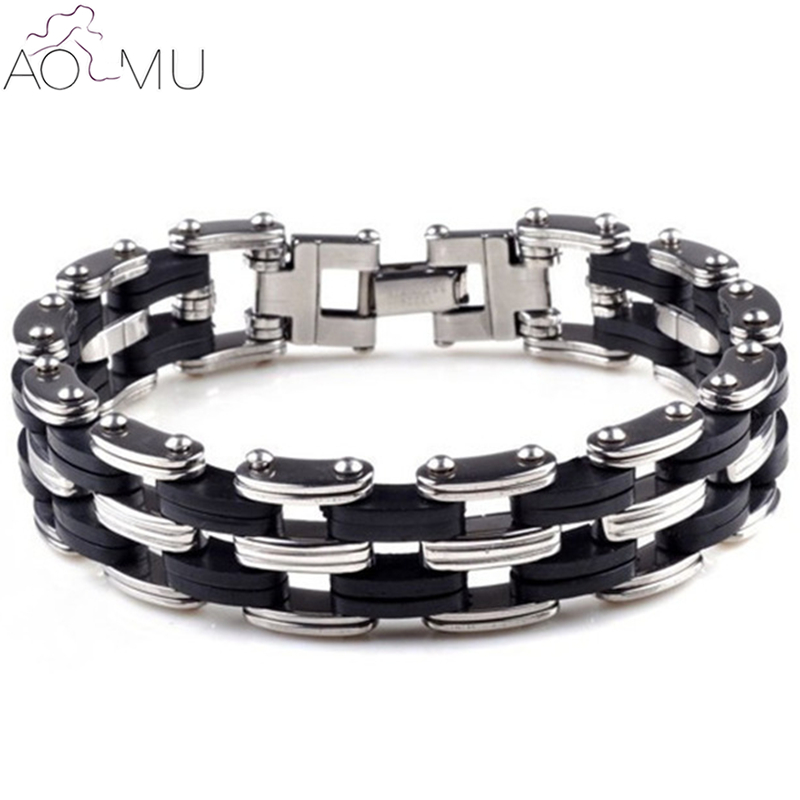"8.1/"" Mens Motorcycle Chain Stainless Steel Biker Colorful Rubber Bracelet*12MM"