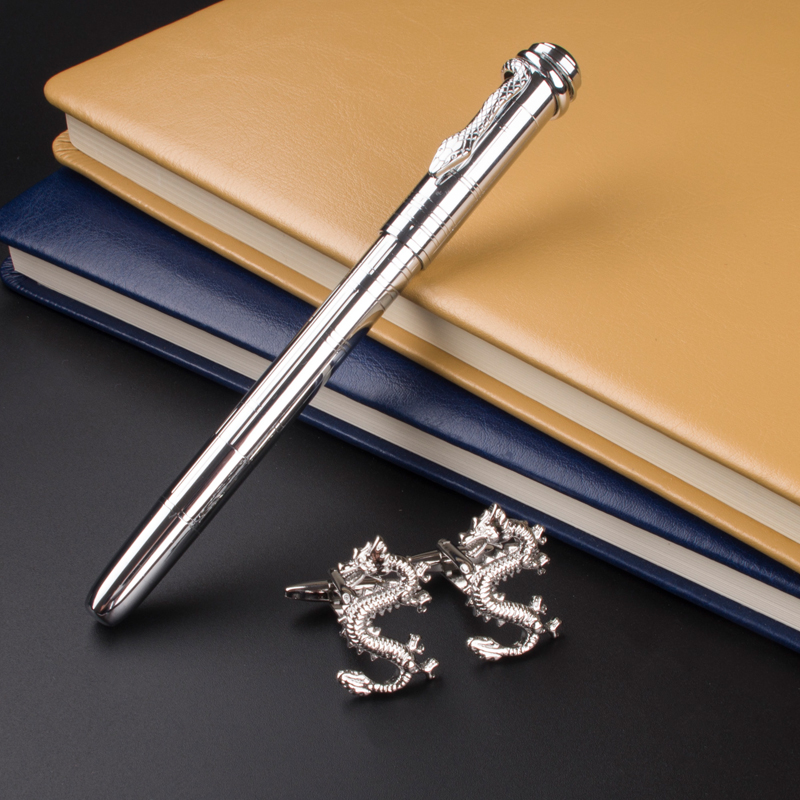 Classic Student MONTE MOUNT Stainless Steel Metal Silver roller ball pen ang Cufflinks gift stainless steel cuticle removal shovel tool silver
