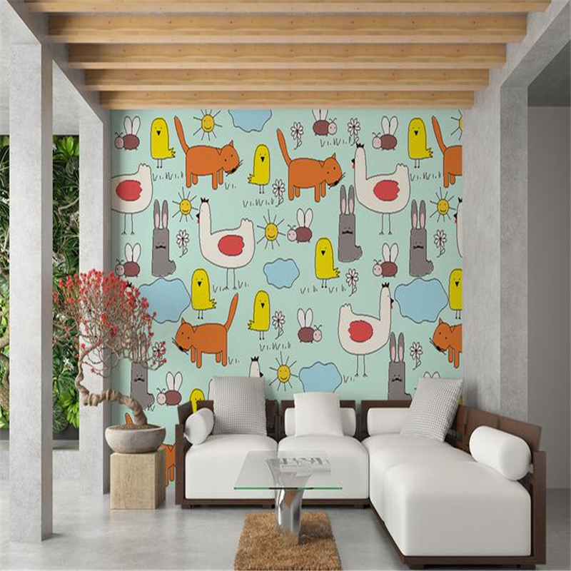 modern custom 3d photo painting wallpaper nordic cartoon cute animals wall mural bedroom living room wallpaper for kids room book knowledge power channel creative 3d large mural wallpaper 3d bedroom living room tv backdrop painting wallpaper