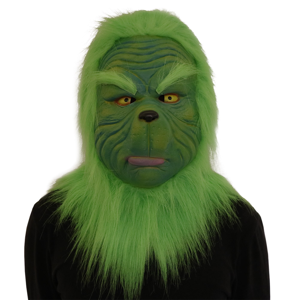 2018 Movie The Grinch Cosplay Masks Green Latex Full Head Helmets Fur Christmas