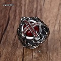Mens Vintage The End Time Cross Rings With Blood Red Inner Stones Red Zircon Stones Stainless Steel Jewelry Sizes 7-12