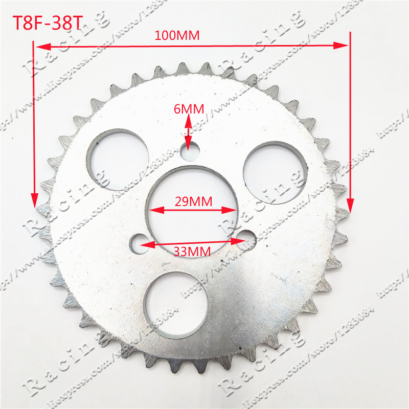 T8F-<font><b>38T</b></font> Rear <font><b>Sprocket</b></font> 29mm Silver 38 Tooth For 43cc 49cc Minimoto Moped Scooters 2 Stroke Engine Pocket Bike Mini Quad ATV image