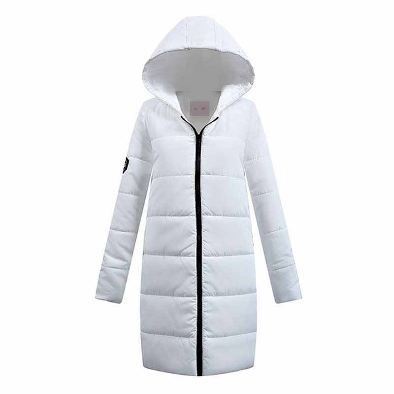 Sisjuly White Simple Winter Warm Parkas Cotton Padded Jackets Women Coat Casual Slim Thick Hooded Female Parkas Long Outwears