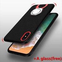 موضة 8 تصميم kickstand لتفاح iphone x الحال مع الزجاج tpu + pc رقيقة جدا مضاد للخبط حالة الغطاء الخلفي للآيفون x الهاتف