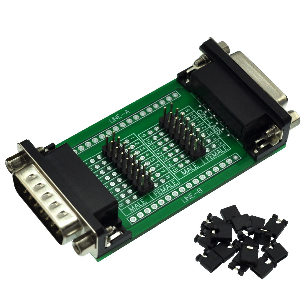 CZH-LABS D'sub DB15 Diagnostic Test Breakout Board, DSUB DB15 Connector Male To Female.