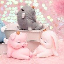Sibaolu мультфильм о розовой свинье Копилка милая фигурка собаки с короной настольное украшение милый кролик Moeny Box