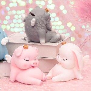 SIBAOLU Cartoon różowy świnia skarbonka Cute figurka psa z koroną tabeli Ornament piękny królik pieniądze pudełko