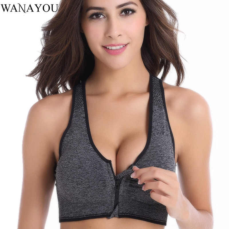 WANAYOU Frauen Zipper Sport Bhs, Plus Größe XL Wirefree Padded Push Up Sport Tops, atmungsaktive Fitness Gym Yoga Sport-Bh Top