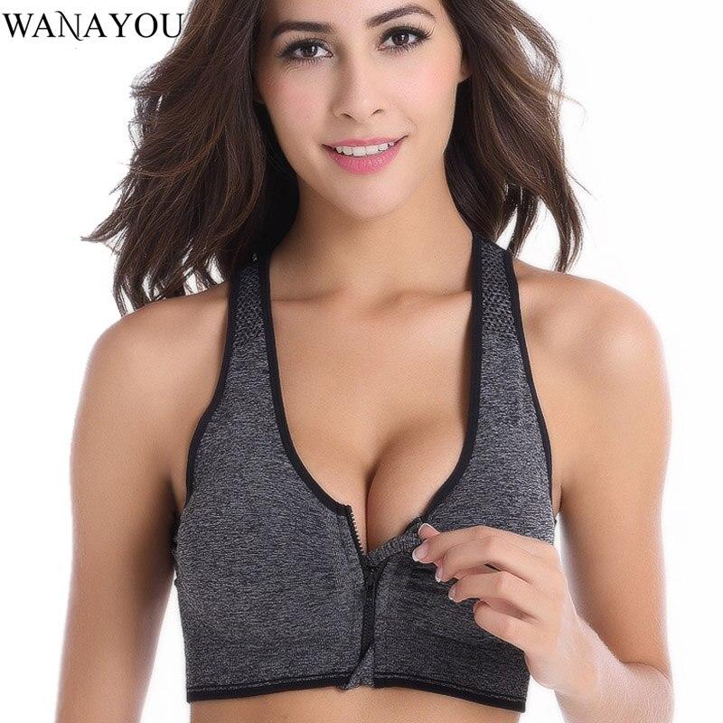WANAYOU Women Zipper Sports Bras,Plus Size XL Wirefree Padded Push Up Sports Tops,Breathable Fitness Gym Yoga Sports Bra Top