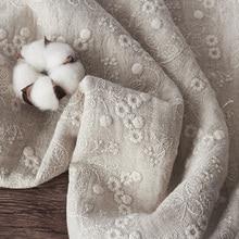 Хлопковая и льняная ткань, Высококачественная модная юбка-шаль tissu, плотная и двусторонняя вышивка, осенняя и зимняя ткань