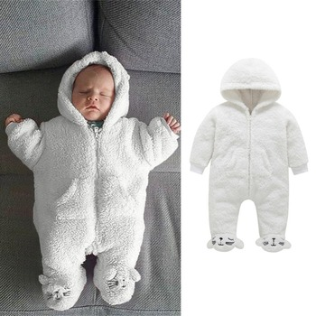 Baby Romper Winter Baby Boys Girls Coral fleece Sets Cartoon Suit Hoodie Fuzzy Jumpsuit Casual Outfits Hooded Cute Baby Clothes new born baby clothes infant newborn baby boys girls cartoon print ear hooded romper jumpsuit outfits baby winter clothes 9 12