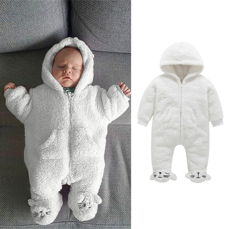 Baby   Romper   Winter Baby Boys Girls Coral fleece Sets Cartoon Suit Hoodie Fuzzy Jumpsuit Casual Outfits Hooded Cute Baby Clothes