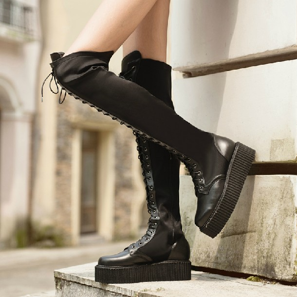 17c8cf29ed punk platform lace up thigh high boots soft genuine leather knee high  stretch boots women black over knee boots flat winter L2