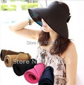 Roll Up Wide Brim Sun Visor Hat,folding straw hat women, 100pcs/lot ,18 colors available  free shipping
