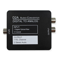 Digital To Analog Audio Converter Adapter Black Mini Digital Optical Coaxial RCA Toslink Signal With Earphone