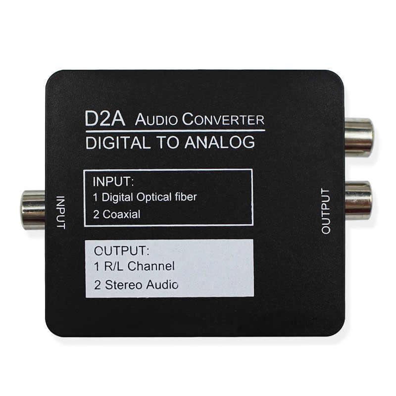 Digital para Analógico Audio Converter Adapter Preto Mini Digital Óptica Coaxial RCA/Toslink Sinal com a porta do Fone de Ouvido