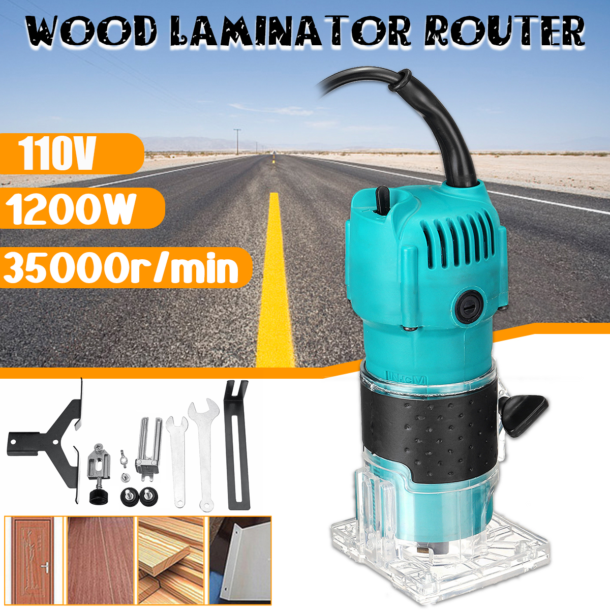 110V 1200W 1/4 Inch Carving Machine Edge Trimmer Power Tools 35000r/min Electric Hand Trimmer Wood Laminator Router Edge Joiners