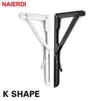 Naierdi 2 pçs suporte de ângulo de dobramento 8-20 Polegada triângulo prateleira suporte pesado ajustável montado na parede bancada mesa mobiliário ferragem