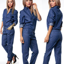 2021 Womens Jumpsuits Stretch Casual Denim Skinny Jeans Pants High Waist Jeans Playsuit New Long Sleeve Pants Y2K Rompers
