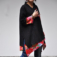 S.MA.Spring Autumn Ethnic Chinese Style Handmade Frog 3/4 Sleeve Double Layer Cotton Casual Loose Irregular Blouses Tops Coats