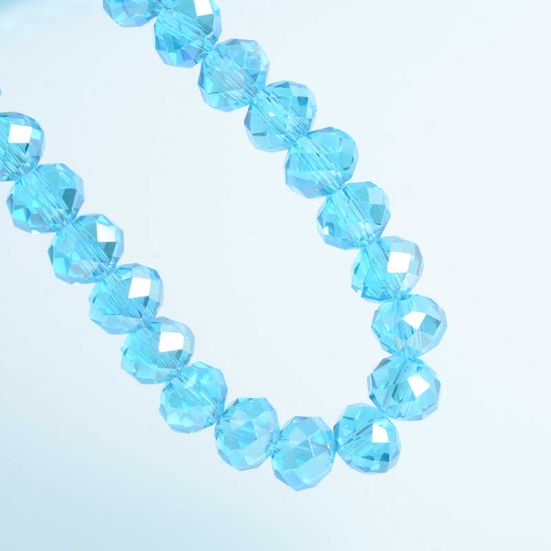 8 Mm Bahasa Swedia Longgar Rondelle Kristal Beads untuk Membuat Perhiasan DIY Menjahit AB Warna Spacer Ragam Manik-manik Kaca