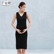 Miyak плиссированные Большие размеры женские черные платье Мода Тонкий жилет платье простой и удобной подошвой Хеджирование платье для женщин dt45