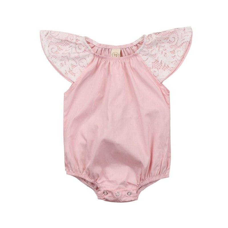 Newborn Baby Girls Bodysuit 2018 New Lace Floral Sweet Jumpsuit Jumper Bodysuit Outfits Sunsuit